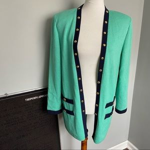 St.John Mint Green & Navy Studded Long Cardigan